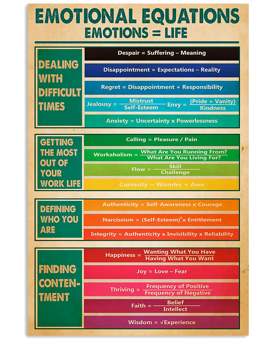 Social Worker Emotional Equations 11x17 Poster