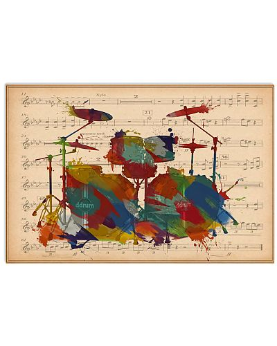 Drummer Colorful Drumset Music Sheet