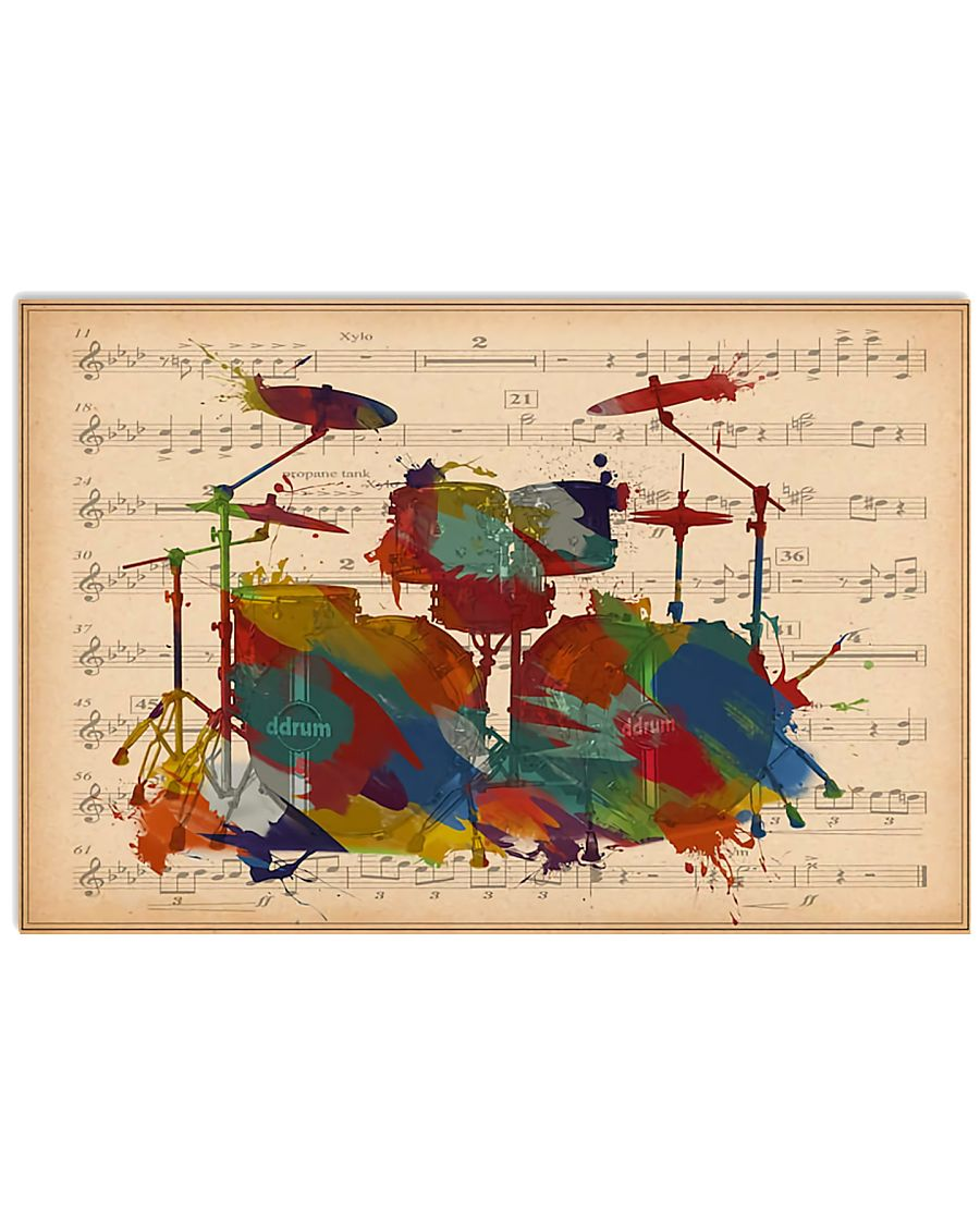 Drummer Colorful Drumset Music Sheet 17x11 Poster