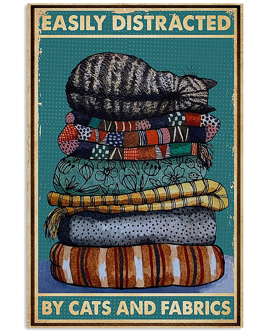 Sewing Cats And Fabrics 11x17 Poster