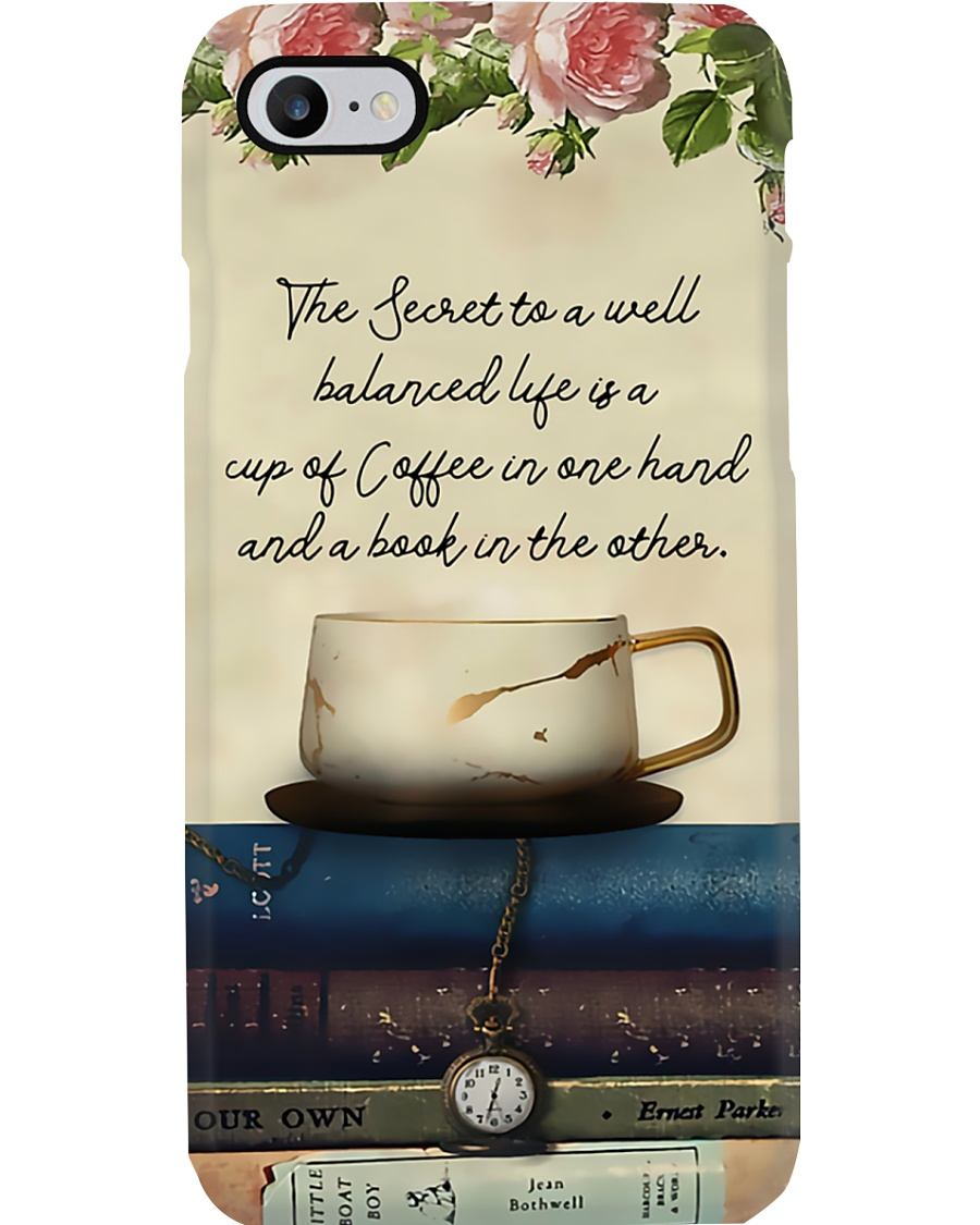 Librarian A Balanced Life With Coffee And Books Phone Case