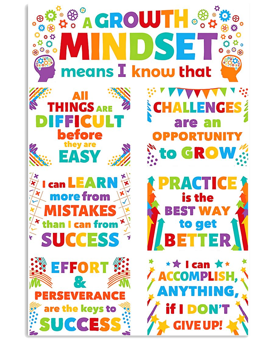 Growth Mindset Colorful Teacher 11x17 Poster