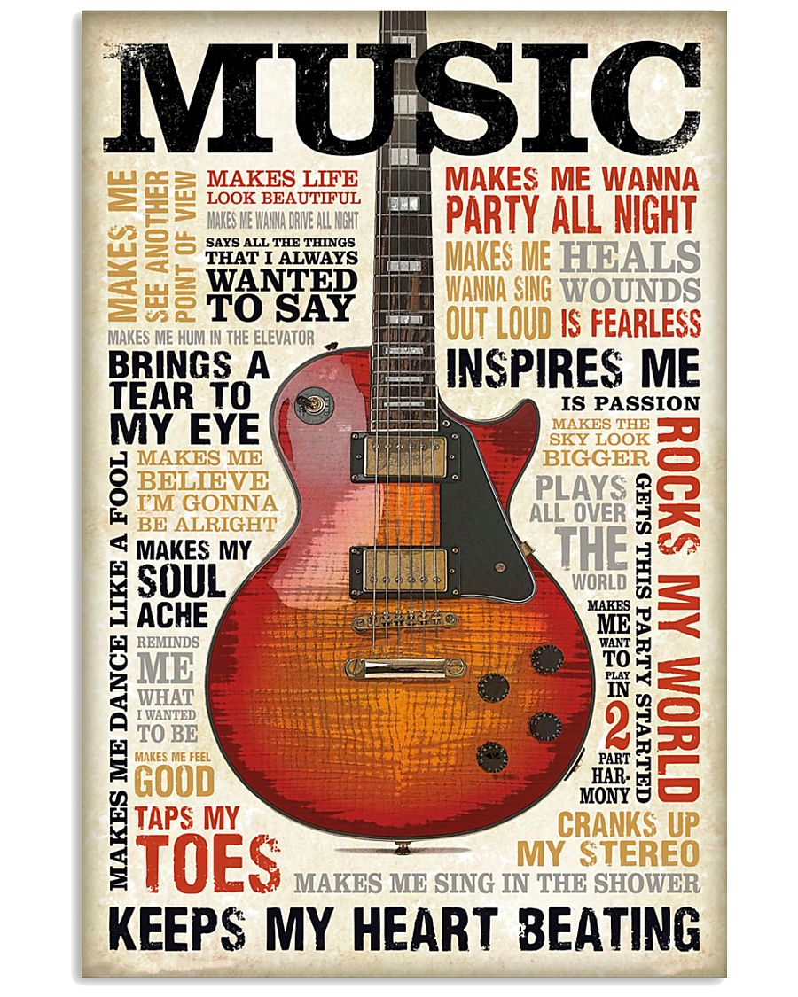 Vintage Terms Music Guitar 11x17 Poster