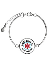 I Have Diabetes I Need Medication Alert Metallic Circle Bracelet thumbnail