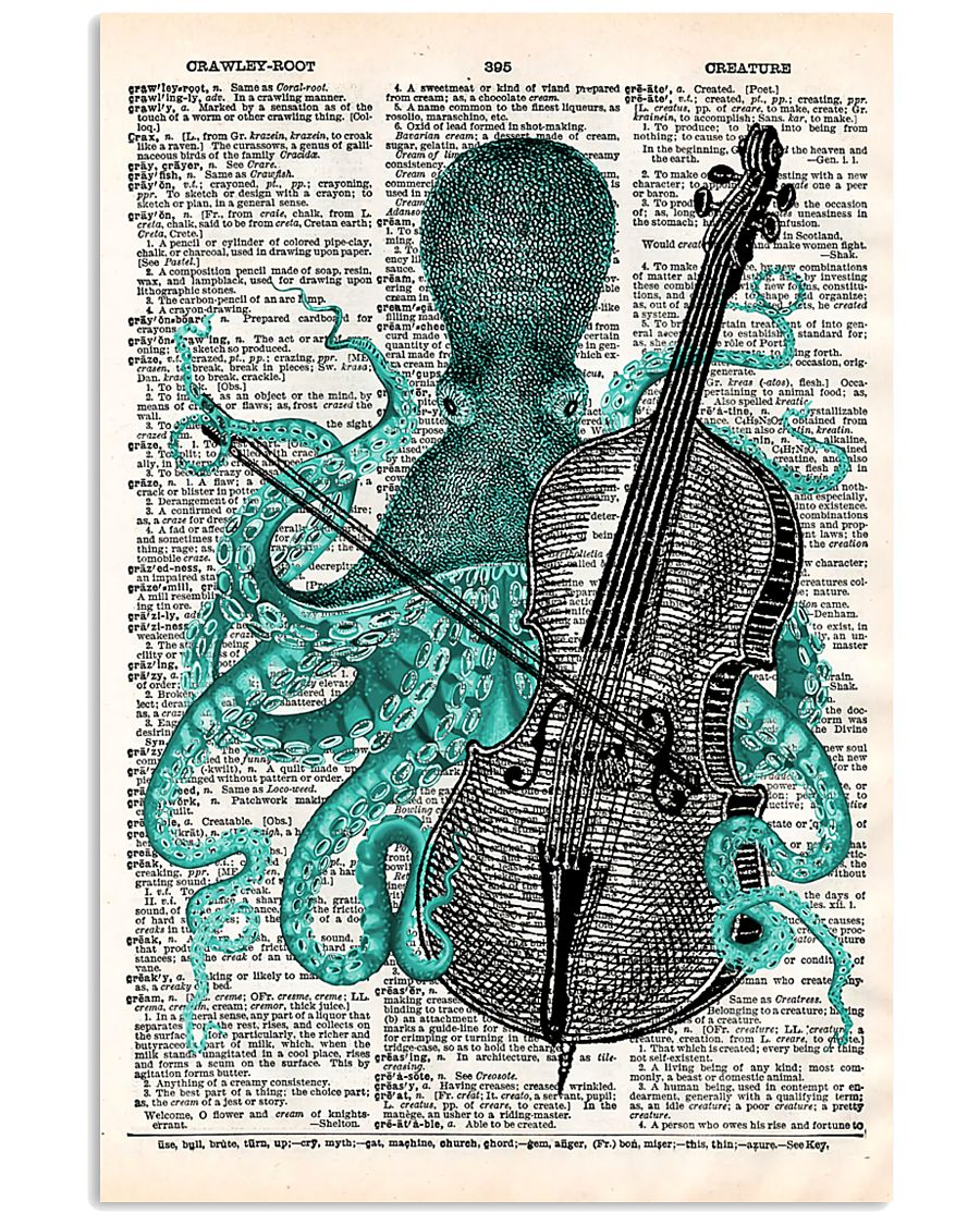 Octopus playing cello 11x17 Poster