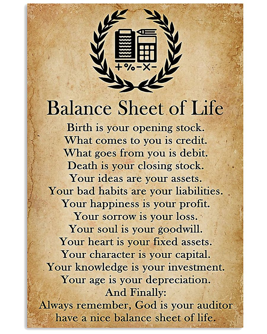 Accountant Balance Sheet Of Life 11x17 Poster