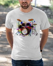 Drummer Colorful Drum Set Classic T-Shirt apparel-classic-tshirt-lifestyle-front-50