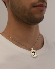 Bass Guitar Clef Metallic Circle Necklace aos-necklace-circle-metallic-lifestyle-2