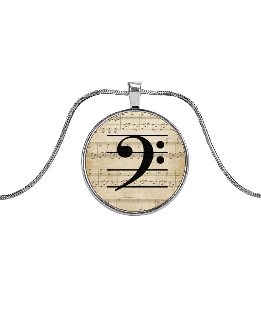 Bass Guitar Clef Metallic Circle Necklace