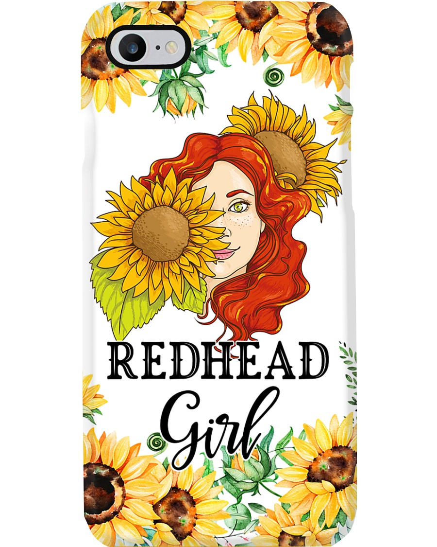 Redhead Girl with sunflower Phone Case
