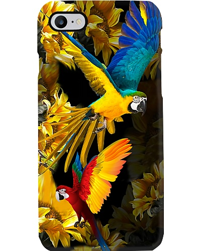 Parrots on yellow leaves Phone case