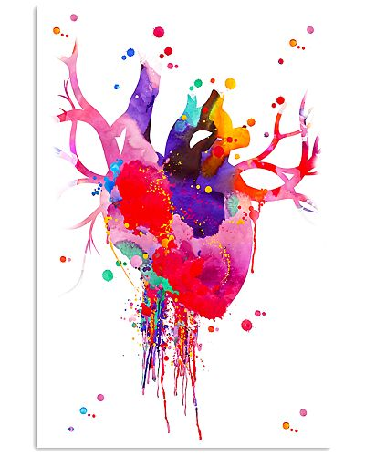 Heart Anatomy Watercolor Print Cardiologist