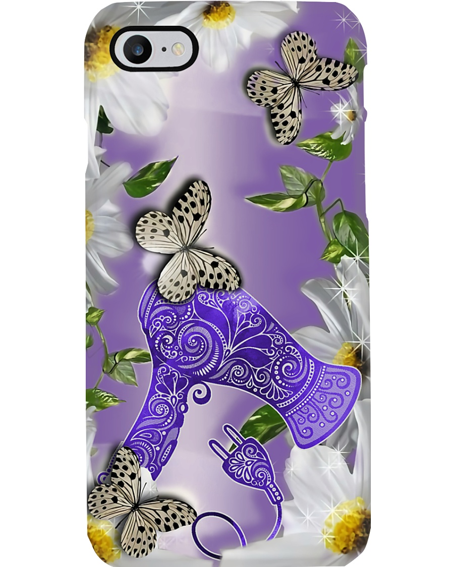 Hairdresser Purple Daisy And Butterfly Hair Dryer Phone Case