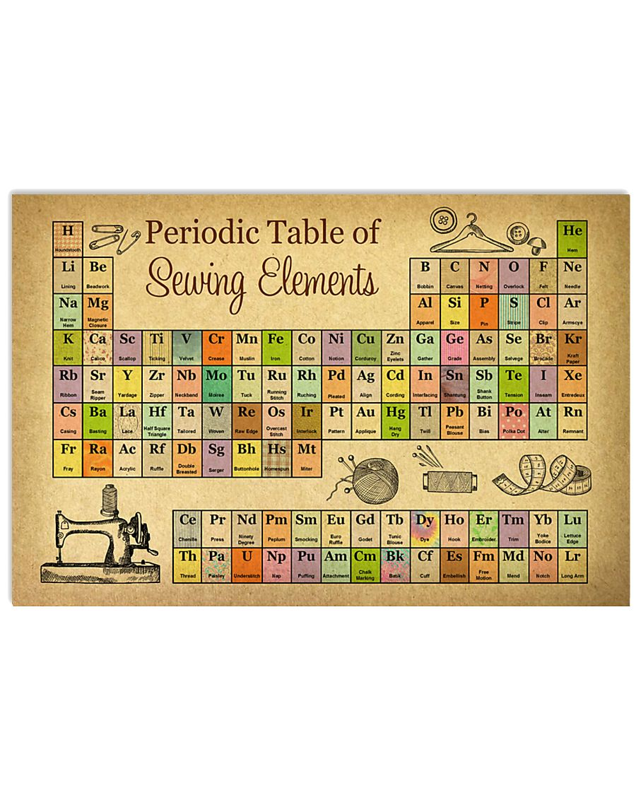 Periodic Table Of Sewing Elements 17x11 Poster