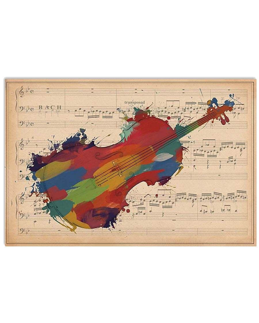 Violinist Colorful Violin Music Sheet 17x11 Poster