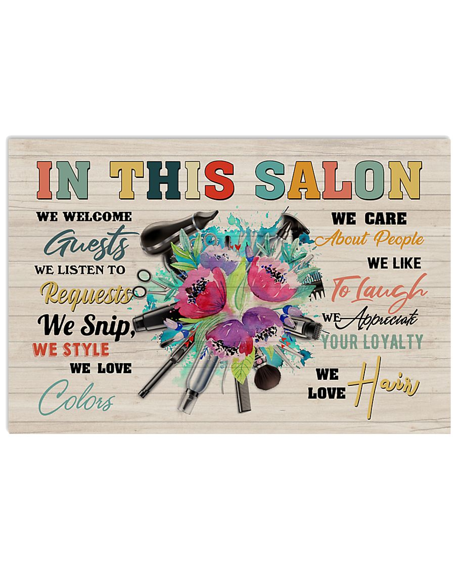 Hairdresser In This Salon We Welcome Guests 17x11 Poster