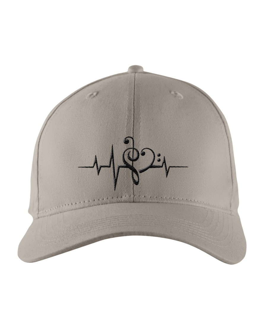 Clef Heartbeat Bass Guitar Embroidered Hat