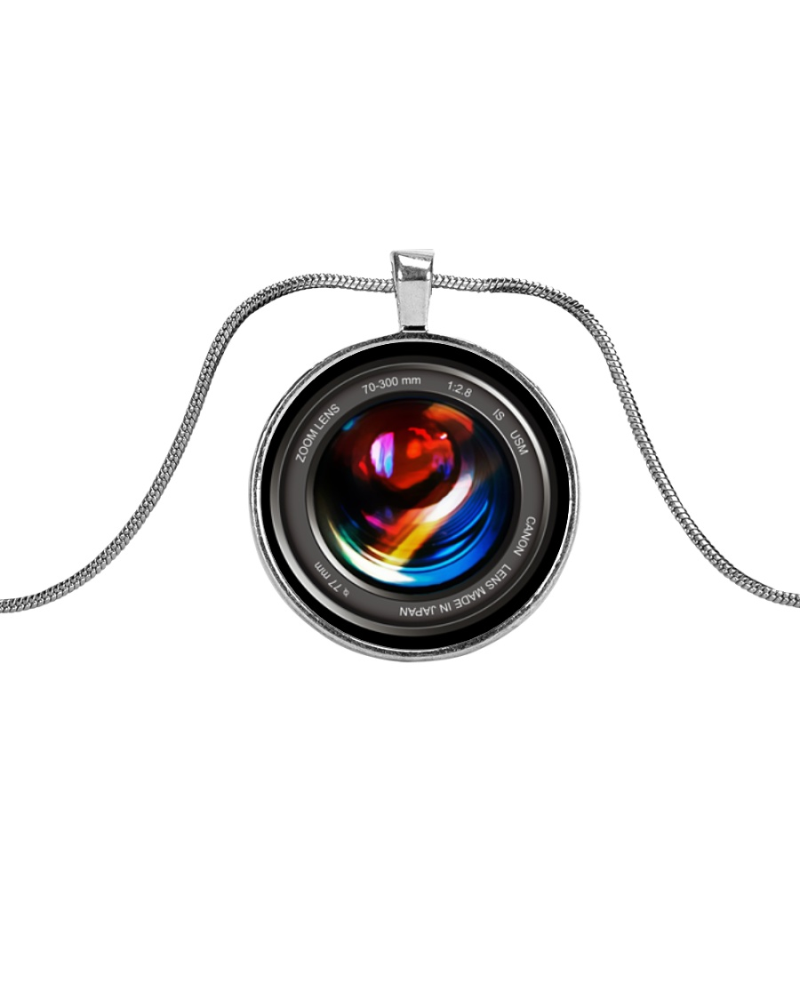 Photographer Camera Lenses Keychain Metallic Circle Necklace