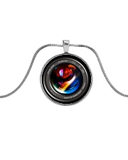 Photographer Camera Lenses Keychain Metallic Circle Necklace front