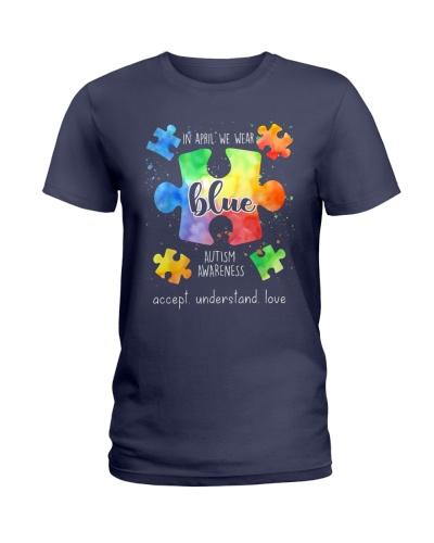 In April We Wear Blue Autism Awareness