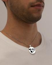Cat Clef Bass Guitar Metallic Circle Necklace aos-necklace-circle-metallic-lifestyle-2