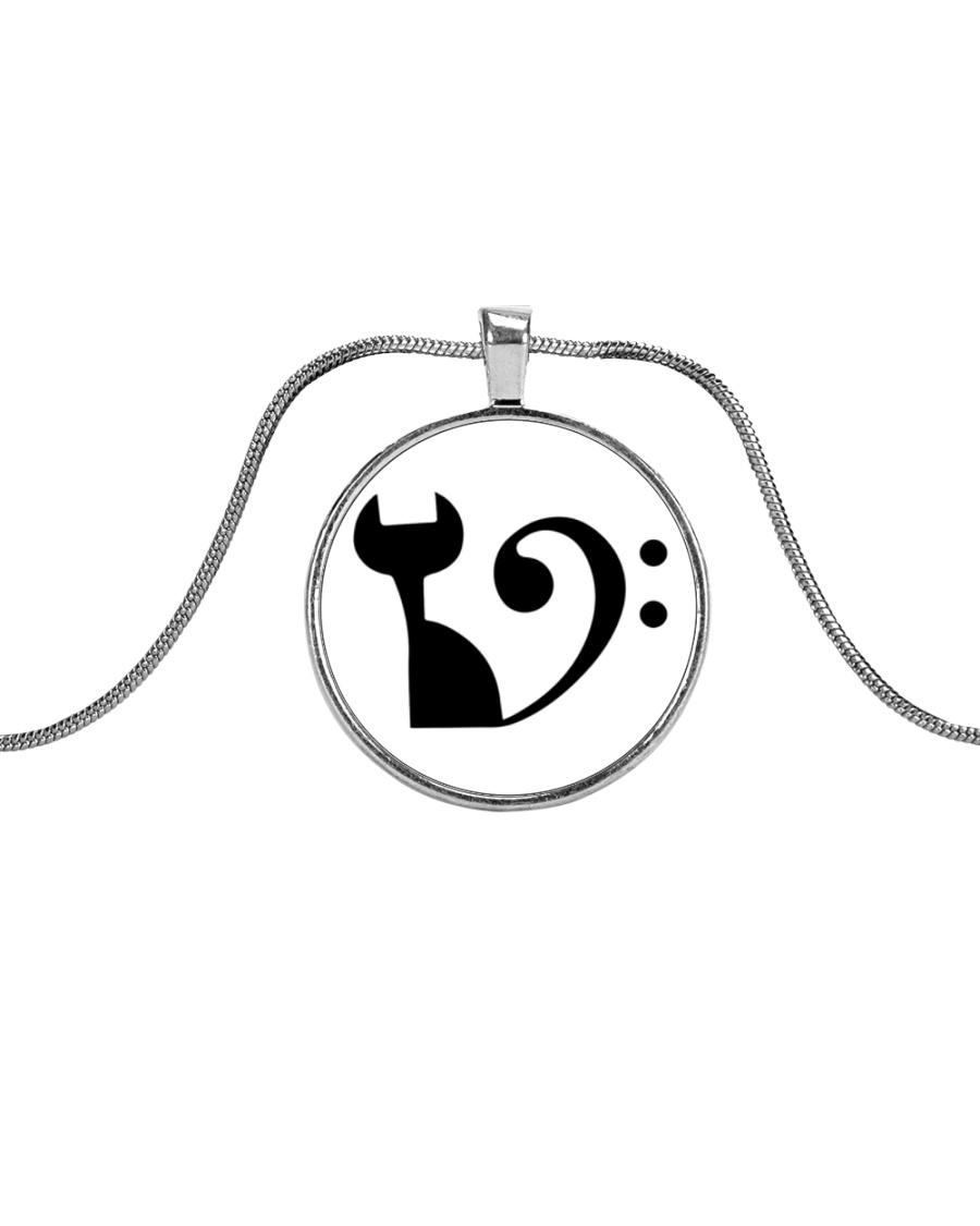 Cat Clef Bass Guitar Metallic Circle Necklace