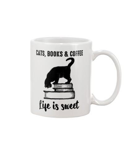 Cats Books - Coffee Book Lover Gift