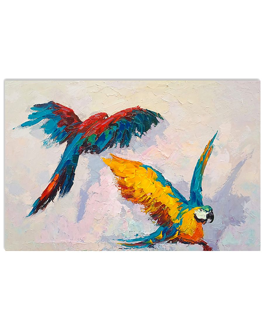 Colorful Parrot Couple  17x11 Poster