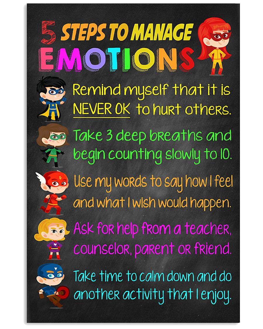 Teacher 5 Steps To Manage Emotions 11x17 Poster