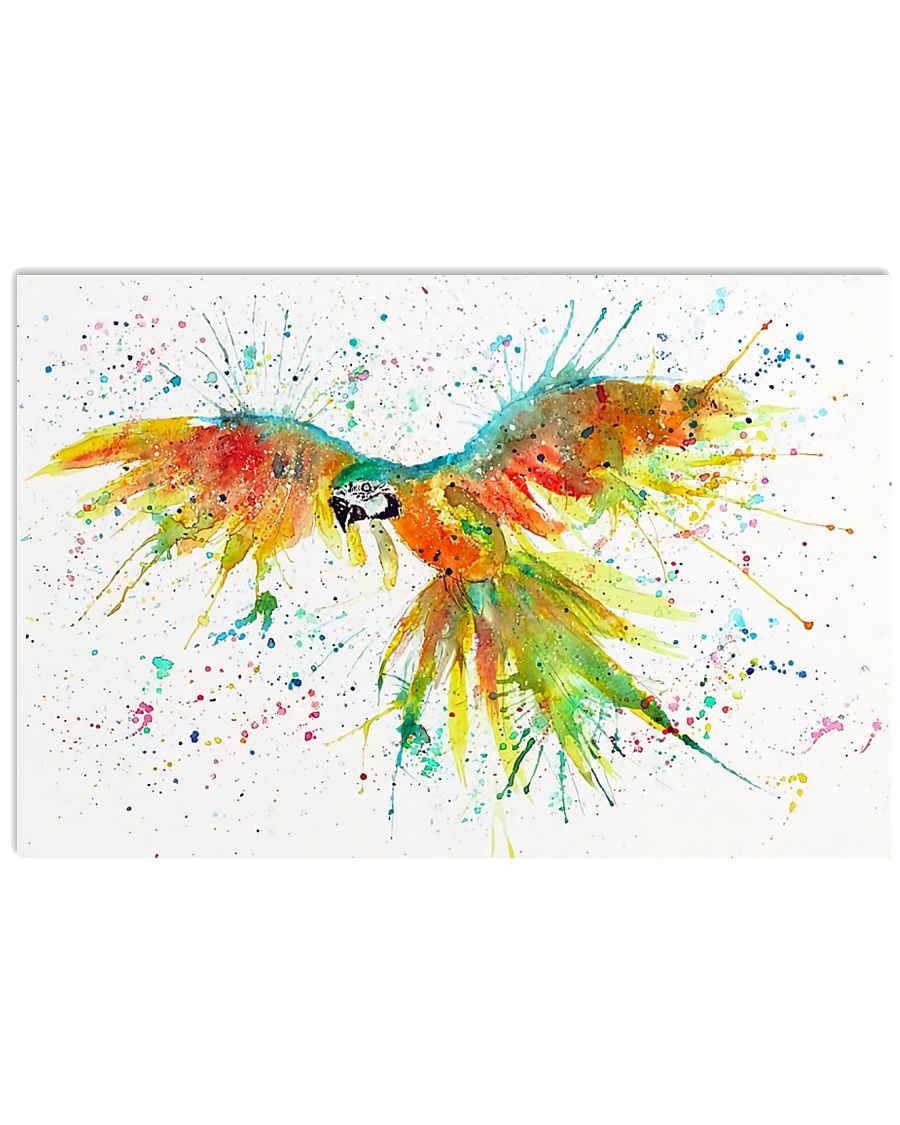 Parrot Colorful Watercolor Parrot 17x11 Poster