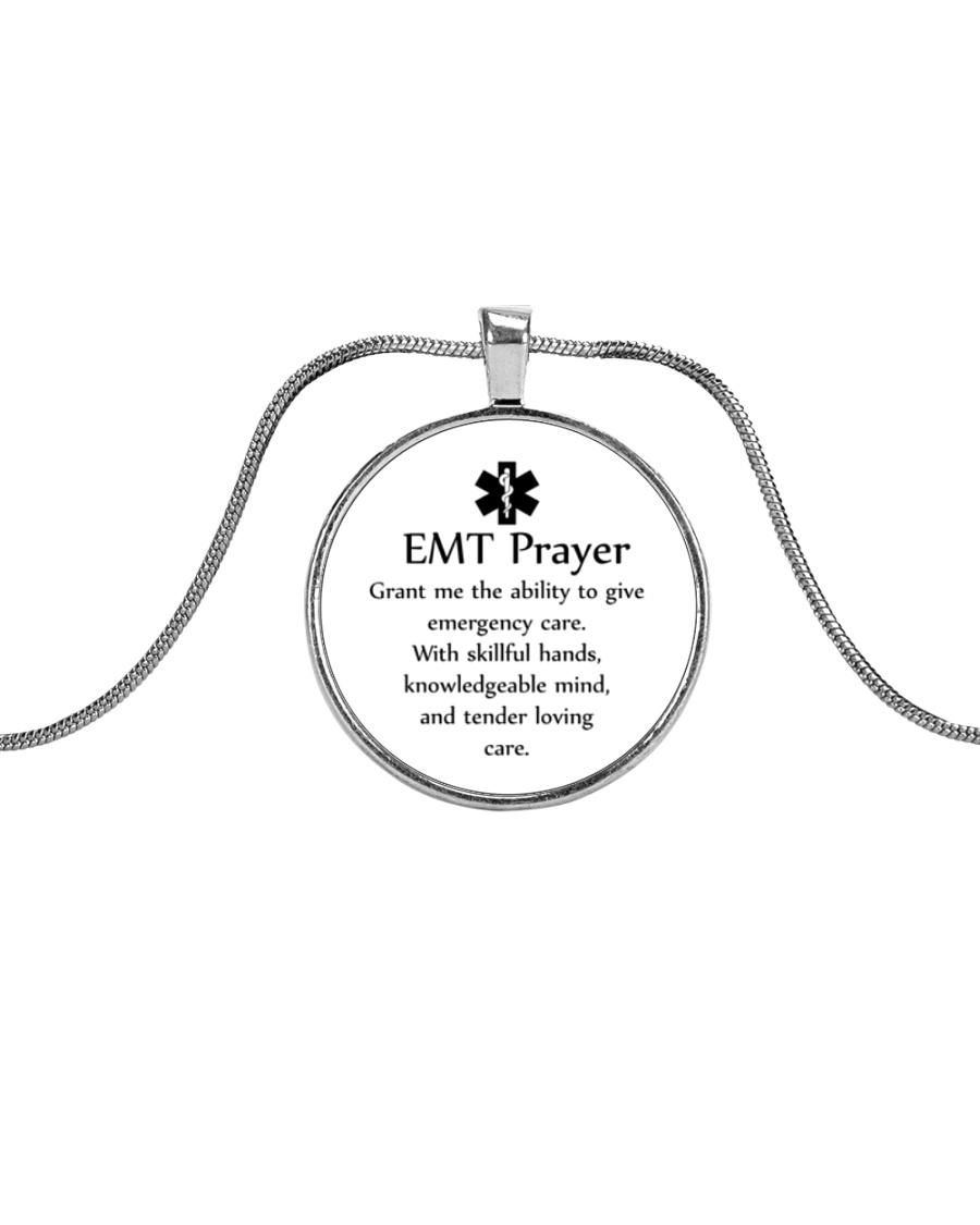 Paramedic EMT Prayer Metallic Circle Necklace