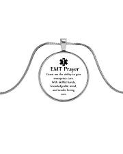 Paramedic EMT Prayer Metallic Circle Necklace front