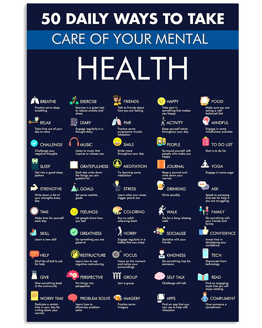 50 Daily Ways To Take Care Your Mental Health 11x17 Poster