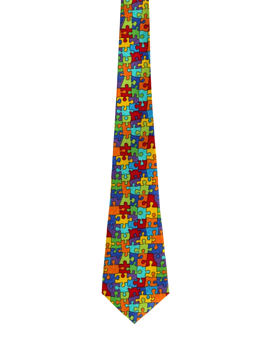 Autism Awareness Colorful Puzzles Tie