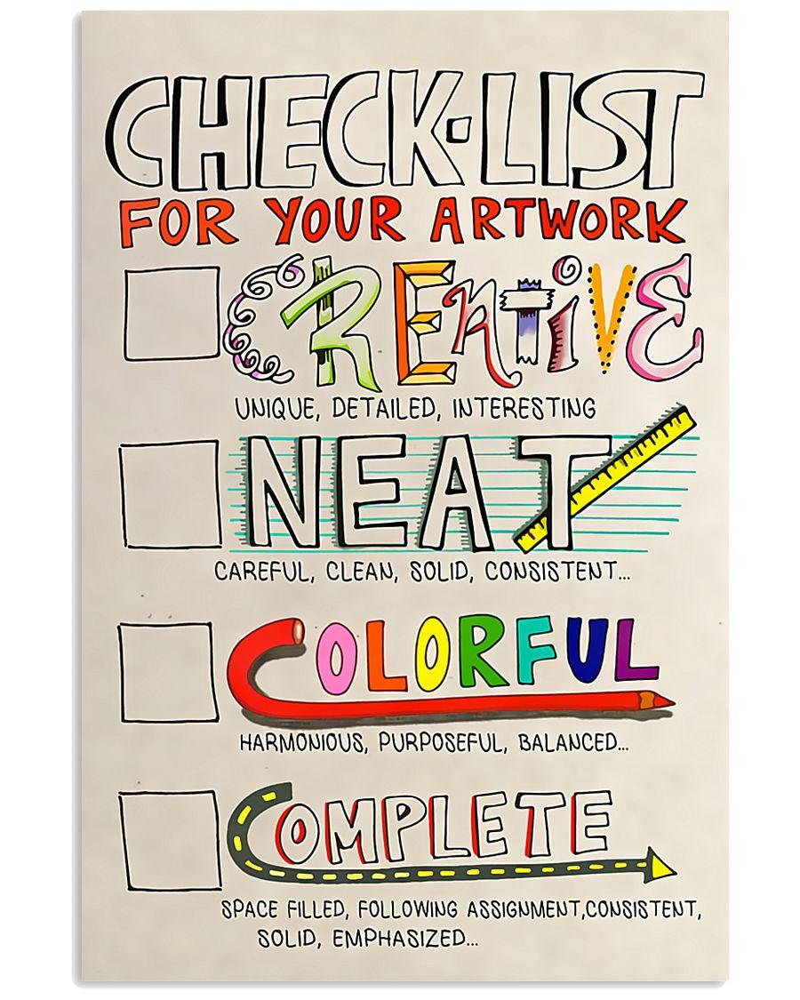 Teacher Check- List For Your Artwork 11x17 Poster
