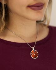Unique Cello Metallic Circle Necklace aos-necklace-circle-metallic-lifestyle-1
