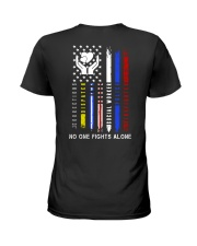 Social Worker No One Fights Alone Ladies T-Shirt back