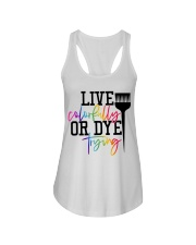 Hairstylist live colorfully or dye trying Ladies Flowy Tank thumbnail