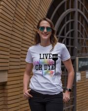 Hairstylist live colorfully or dye trying Ladies T-Shirt lifestyle-women-crewneck-front-2
