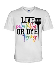 Hairstylist live colorfully or dye trying V-Neck T-Shirt thumbnail