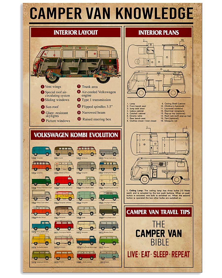 Camper Van Knowledge Camping  11x17 Poster