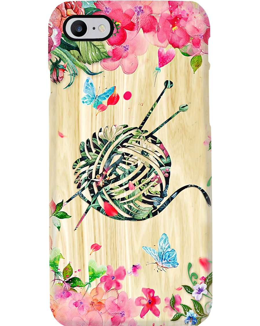 Crochet and Knitting Floral Yarn Phone Case