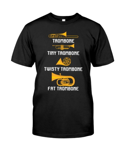 Trombonist trombone tiny twisty fat trombone
