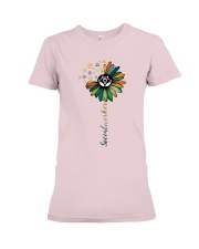 Social Worker Colorful Flower Premium Fit Ladies Tee thumbnail