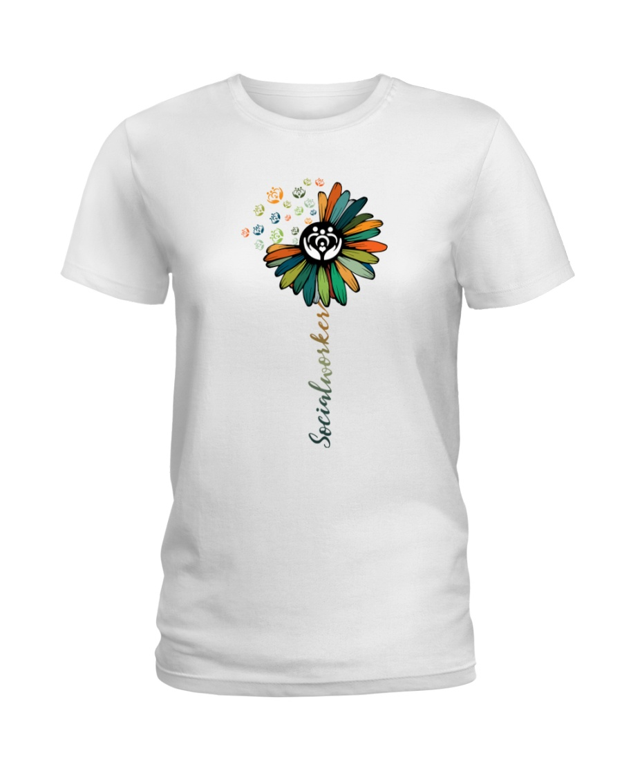 Social Worker Colorful Flower Ladies T-Shirt