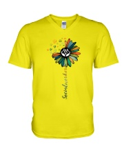 Social Worker Colorful Flower V-Neck T-Shirt thumbnail