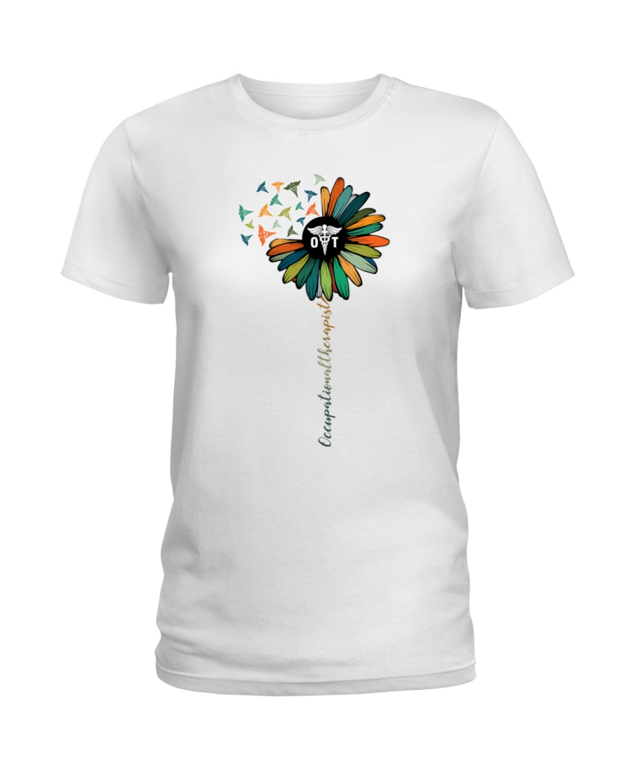 Occupational Therapist Colorful Caduceus  Ladies T-Shirt