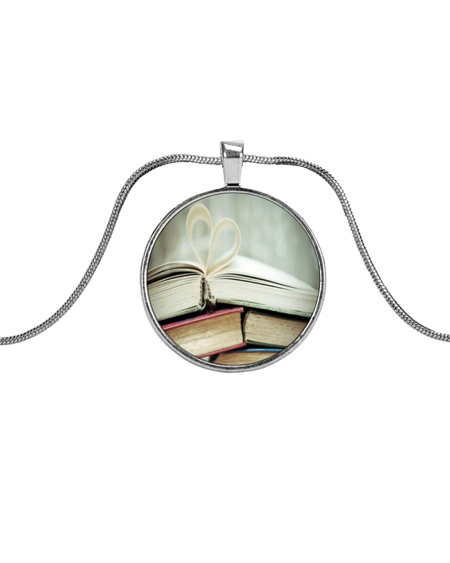 Librarian Love Reading Books Metallic Circle Necklace