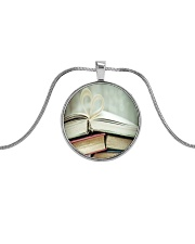 Librarian Love Reading Books Metallic Circle Necklace front