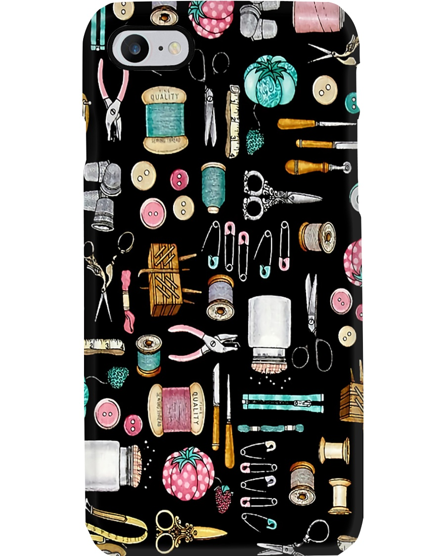 Sewing Tools In Black Background Phone Case